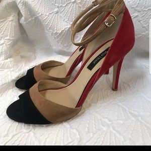 WHBM heels. Red, tan and black suede.